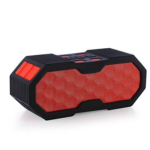 Foto de Proxelle - Altavoz Exterior Bluetooth Impermeable De Diseño Waterproof IP67 Inalámbrico BT V4.0 Sumergible Estéreo Portátil con Micrófono Incorporado y Soporte para Bicicleta, Rojo