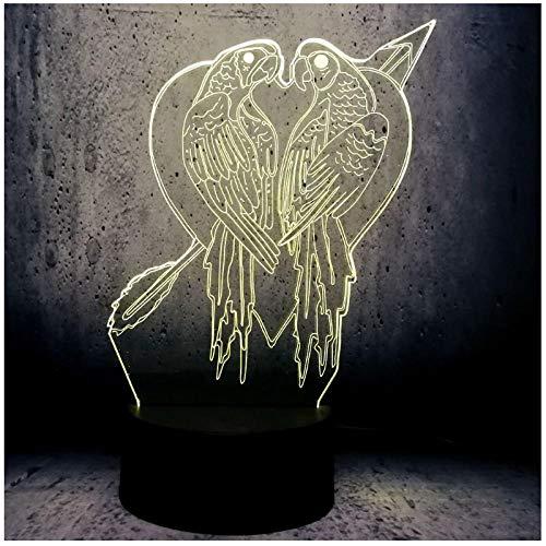 Led nachtlicht 3d lampe 2 kuss vogel wohnkultur kreative schreibtisch tisch lava 7 farbwechsel junge usb basis led lampe -