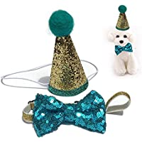 AUOKER Gorro de cumpleaños para perro con lazo diadema, brillante y único cono de lentejuelas, accesorio de cosplay sólido – forma de corona Capucha pequeña mariposa diadema para cachorro, perro, gato