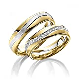 Viennajewelry Eheringe Partnerringe Trauringe Verlobungsringe Freundschaftsringe aus Titan/Silber Gold plattiert/Laser Gravur GRATIS