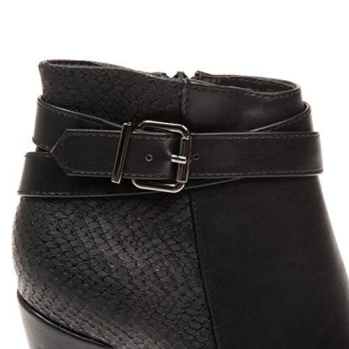 La Modeuse - Bottines aspect cuir bi-matière Noir