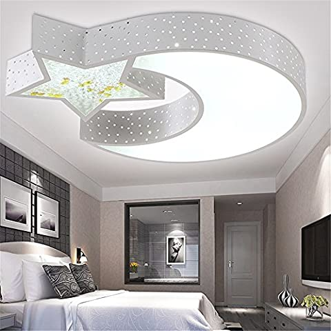 Malovecf LED Kinderzimmer Deckenlampe Kinder Lampe Schlafzimmer Lampe Studie Lampe Licht Mädchen und Mädchen Mode Cartoon Licht Star Moon,weiß