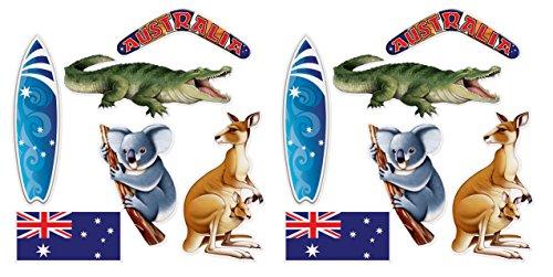 Beistle 54891 australische Ausschnitte 12-teilig, 31,5-49,75 cm, mehrfarbig