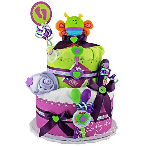 Gâteau de couches/Pampers gâteau > bébé cadeau pour fille et garçon dans un beau Mauve/vert ton//Cadeau de naissance, baptême, baby party//Cadeau Original et Pratique Pour Bébé