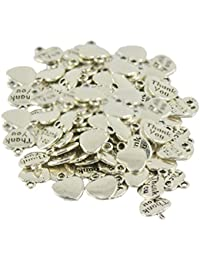 100pcs Heart Charm Pendant Thank You Antique Silver Jewlery Making 12 X 11mm