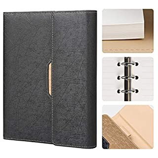 RESO Refillable Notebook A5 - Loose Leaf/Binder Notepad-Fashion PU Leather Cover, Ruled/Lined with Pocket&Pen Holder, 100gsm Paper, 100 sheets/200 Pages, Gift Box-Black