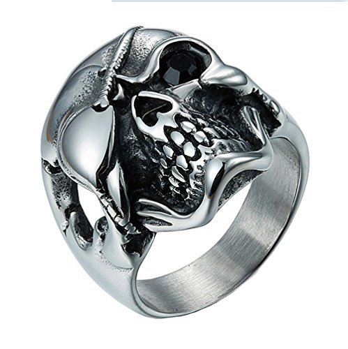 HIJONES Herren Edelstahl Ein Auge Schädel Cz Ring Halloween Schwarz Größe (Skelette Verkauf Zum Halloween)