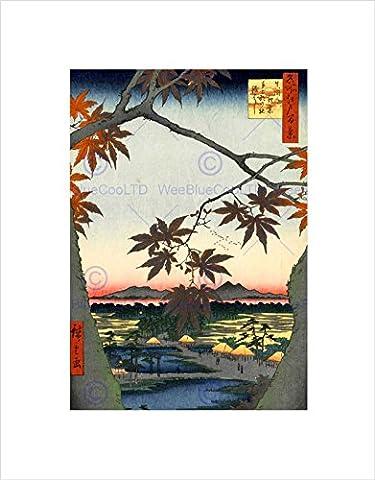 PAINTING JAPANESE WOODBLOCK MAPLE TREE MOUNTAINS FRAMED ART PRINT B12X10832