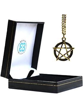 Samt-Box-Supernatural Halskette mit Anhänger Pentagramm Kette Schmuck Antik Stil Modeartikel Anhänger Medaillon-Anhänger...