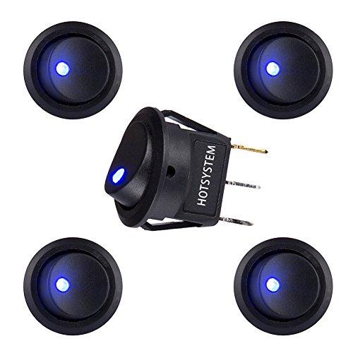Hotsystem Kfz-Wippschalter, 12V, 20A, rund, An/Aus (einpoliger Einschalter), LED-Beleuchtung (Truck Camper Klemmen)