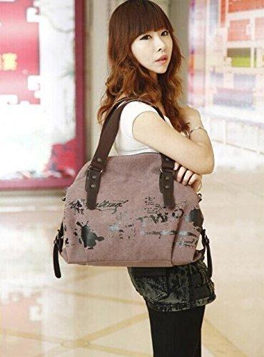 Minetom Damen Fashion Vintage Canvas Umhängetasche Handtasche Messenger Taschen Leinwand Tasche Lila