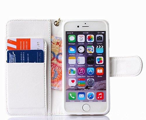 Pour iPhone 6/6s Cas, iNenk® PU Cuir téléphone Shell Retro Camélia Modèle chaîne Phone Cas Carte Porte-monnaie Couverture Protecteur Manche Pour Femmes-Rose blanc