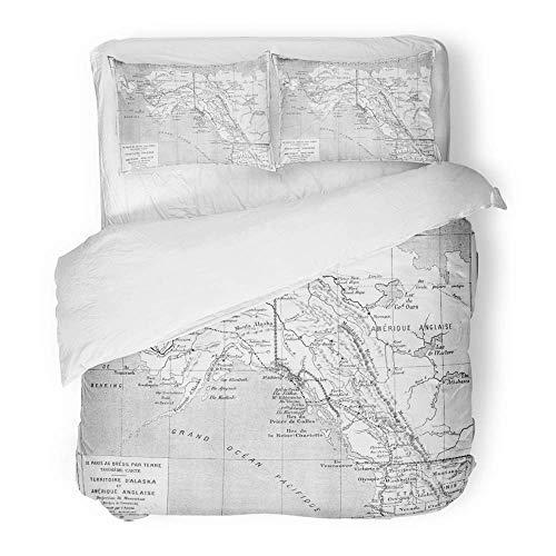 3 Stück Bettbezug-Set aus gebürstetem Mikrofasergewebe Atmungsaktive Karte des Territoriums Alaska und British America Jahrgang gravierte Zeitschrift Des Voyage Bettwäsche Set mit 2 Kissenbezügen, Kin (British-bettwäsche-set)