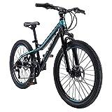 BIKESTAR VTT Vélo Tout Terrain pour Enfants de 10-13 Ans | Bicyclette 24 Pouces 21 Vitesses Shimano, Hardtail, Freins Disc, Suspension | Noir & Bleu...