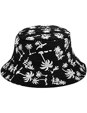 TININNA Estivo Unisex Coconut Tree Stampe Cotone Bucket Hat Cappello da pescatore Berretti visiera di sole Spiaggia...