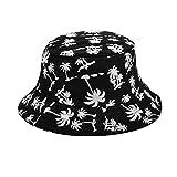 TININNA Unisex Kokosnussbaum Muster Buschhut Sonnenhut Bucket Hat Strandhut Sommerhut Sonnenhuete schwarz EINWEG Verpackung