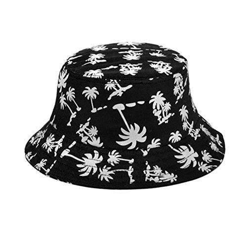 TININNA Unisex Kokosnussbaum Muster Buschhut Sonnenhut Bucket Hat Strandhut Sommerhut Sonnenhuete schwarz (Schwarze Damen Hat Bucket)