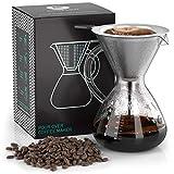 Coffee Gator 'Caffettiera pour Over con Filtro Permanente in Acciaio Inox e caraffa. Dripper zum aufbruehen del caffè. (800ml)