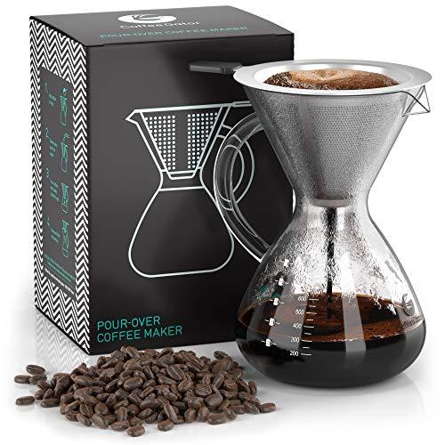 Coffee Gator Pour Over Kaffeebrüher - Mehr Geschmack mit einem papierlosen Edelstahlfilter und Einer Glaskaraffe - Manueller Drip Kaffeebereiter - 800 ml -