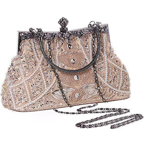 Perlen Abendtasche-clutch (Coucoland Perlen Clutch Damen 1920s Handtasche Abend Party Geldbeutel Elegante Abschlussball Handtaschen Hochzeit Braut Zubehör (Beige))
