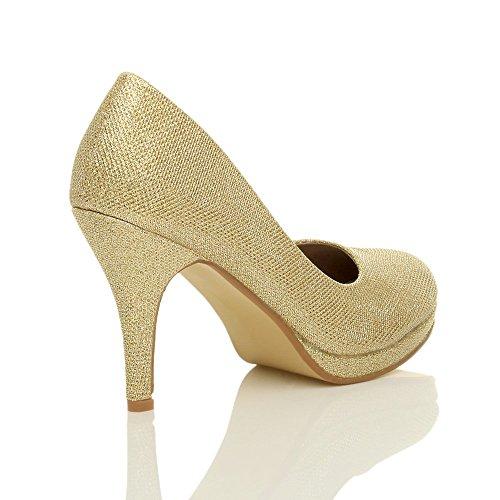 Femmes talons hauts moyen soirée élégant simple escarpins chaussures pointure Paillettes or tulle