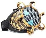 MFAZ Morefaz Ltd Schutzbrille Schweißen Sonnenbrille Welding Cyber LED Goggles Steampunk Goth Round Cosplay Brille Party Fancy Dress (One Eye Gold Grid)
