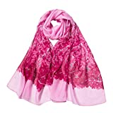 Fenverk Groß Damen Kimono Mode Frau Blumendrucken Lange Weich Wickeln Schal Schals Pashmina TüCher Pashminas Dame Stilvoll Hals Kopftuch Stahl Chiffon Blumenmuster(Rosa)