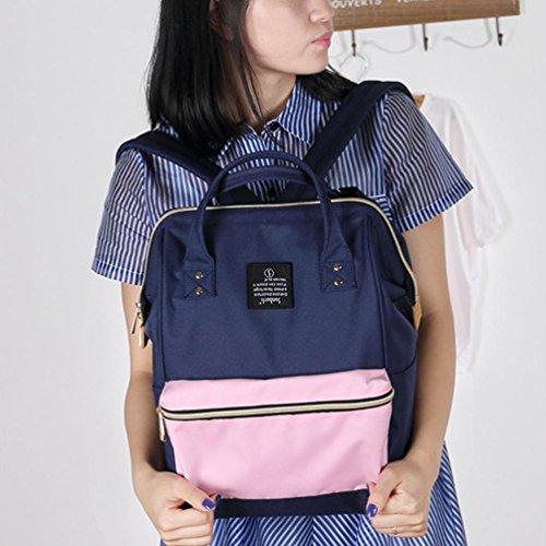 CHENGYANG Mädchen Jungen Schultasche Canvas Rucksack Handtasche Wanderrucksack Reisetasche 12 Zoll Laptoprucksack Saphir Pink