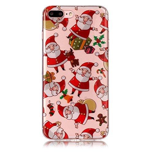 Copertura morbida del silicone TPU Per iPhone 7 Plus/iPhone 8 Plus 5.5, Funyye Modello Natale bello Carino Disegni [Babbo Natale] Brillantini Glitter Morbido Sottile Chiaro Leggero Gel Protettiva Cas Babbo Natale