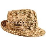 Seeberger Trilby Hut aus Raffiastroh gehäkelt - sand