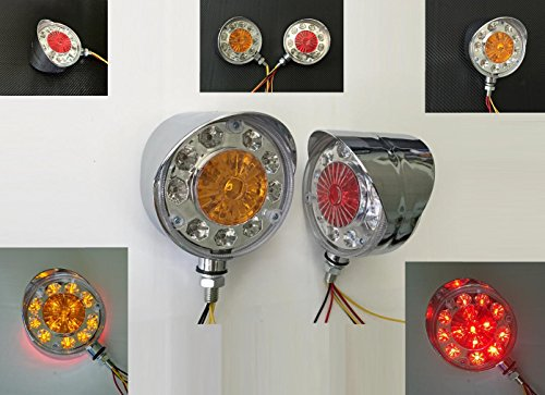 Preisvergleich Produktbild 2 x 12 V rot gelb chrom LED Seite hinten Marker Kontrollleuchten Chopper Motorrad LKW Truck Kipper LKW