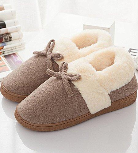Minetom Donna Uomo Inverno Interno Pantofole Coppia Peluche Pantofole Antiscivolo Bowknot Cotone Imbottito Scarpe Caffè(Per Uomo)