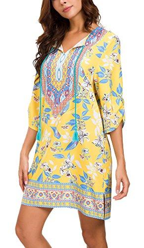 EXCHIC Damen Böhmische Mode Elegantes Retro Folk Custom Stil Blumenmuster Kurzes Kleid Tops (XL, 5) - Hippie Tunika Bluse