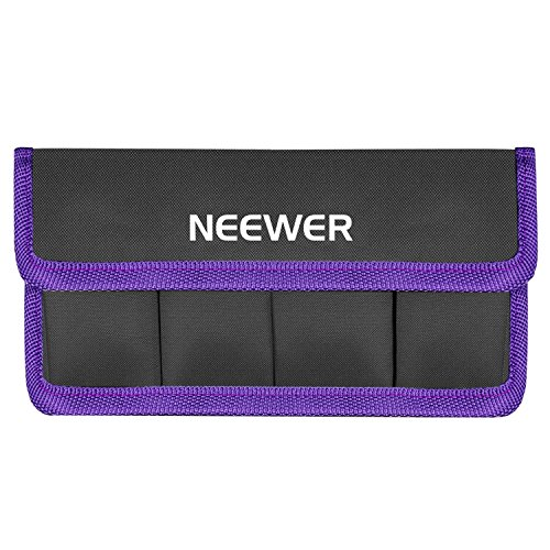 Neewer DSLR Battery Bag Holder Case for AA Battery and lp-e6 lp-e8 lp-e10 lp-e12 en-el14 en-el15 fw50 f550 and More, Suitable for Battery of Nikon D800 Canon 5DMKIII Sony A77(Purple)
