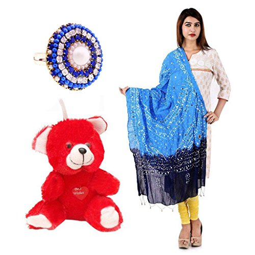 Buy Valentine Gift Pack Red Moments Teddy, Dupatta & Ring (Superb Gioiello)