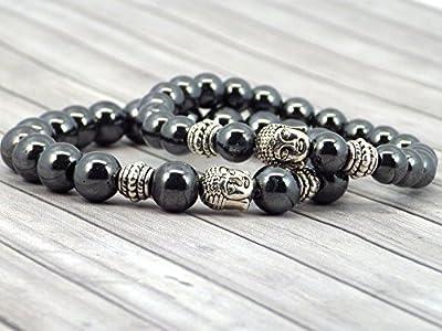 Bracelets de liaison ethnique Zen Thurcolas en perles d'Hématite noires et tête de Bouddha