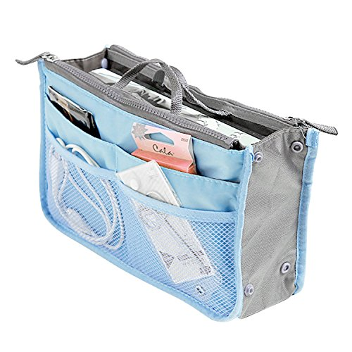 SAVFY Ladies Tidy Travel Insert Handbag Cosmetic Organiser Purse Large Liner Bag Pouch (Blue)
