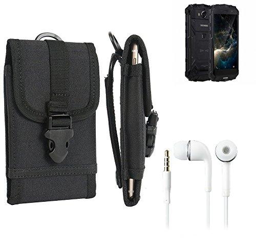 K-S-Trade Schutzhülle für Doogee S60 Lite Gürteltasche Handyhülle Schutz Hülle Gürtel Tasche Handy Tasche Outdoor Seitentasche schwarz 1x + Kopfhörer