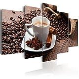decomonkey Bilder Kaffee Coffee 100x50 cm 5 Teilig Leinwandbilder Bild auf Leinwand Vlies Wandbild Kunstdruck Wanddeko Wand Wohnzimmer Wanddekoration Küche Kaffeebohnen Kaffeemaschine Kaffeetasse