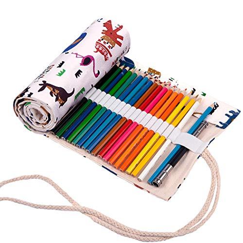 Abaría - Bolso para lápices, grande estuche enrollable para 72 lapices colores,...