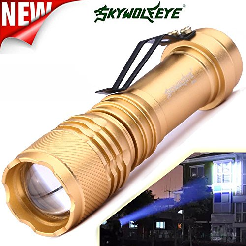 Lampes Torches,Xinan 6000LM CREE Q5 AA/14500 3 Modes LED Super Lumineuse Zoomable Mini Lampes Torches Commande de commodité (Or, 1 PC)