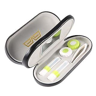 Vococal Drei Layer Dual-Use Kontaktlinsenbehälter und Brillenetuis/Leder Brillen Kontaktlinsen Harte Box mit Spiegel Pinzetten Lösung Flaschen Kontaktlinsen Case, Schwarz