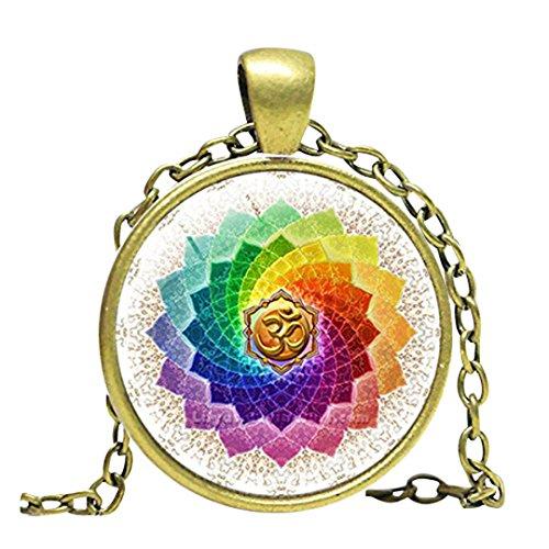 Lotus OM Yoga joyería india collar OM símbolo budismo Zen Meditación Mandala Arte colgante campana de cristal colgante collar