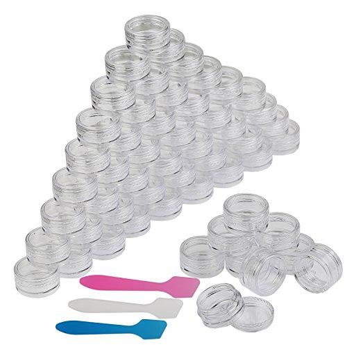 Contenitori Cosmetici,54 Pezzi 5g Contenitore in Plastica Con 3 Pezzi Mini Contenitore Per Campioni Di Spatola Per Pomate,Creme,Accessori Per Unghie
