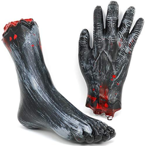 com-four® 2-teiliges Halloween Deko Set Hand und Fuß, abgetrennte Körperteile für Halloween, Fasching, Karneval und andere Themen Partys (02 Stück - Fuß u. Hand)