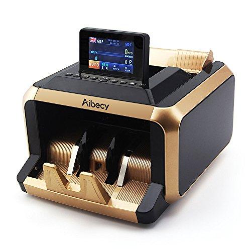 aibecy Geldzählmaschine Multifunktionale Bewegungsmelder Fälschung mit UV/MT/MG/IR Registrierkasse unterstützt die Funktion von Account Wert gemischt für Dollar Euro Buch AUD etc (Dollar Münze Werte)