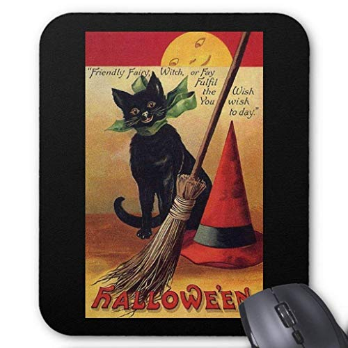 ASKSSD Vintage Halloween with a Black Cat and Witch's Hat Mouse Pad 18 Times 22 cm