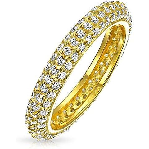Bling Jewelry Oro 14K Vermeil CZ impilabile Wedding Ring