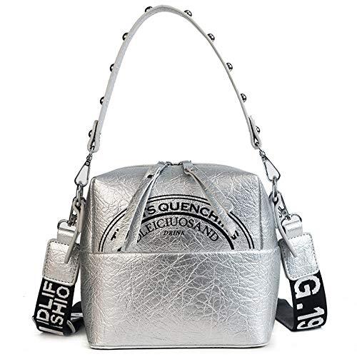 KAIDILA Handtaschen für Frauen PU Leder Damen Kleine Quadrat Platzen zu knacken, Licht Oberfläche Umhängetasche Fashion Tasche Casual & Arbeit, W Hite Schwarz und Silber