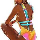 ZARLLE Trajes De BañO Mujer Una Pieza Bikinis Atractivo De Mujeres De BañO Push Up Sujetador Acolchado Estampado De Flores Y Traje De BañO Ropa De Playa (Multicolor, L)